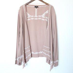 Sweaters - Boho Taupe Long Sleeve Embroidered Kimono